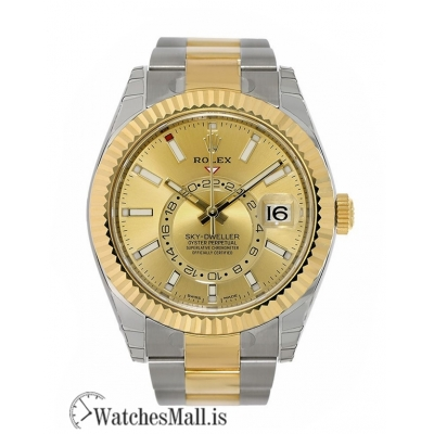 Rolex Replica Sky-Dweller Two-Tone Stainless-Steel Champagne Dial 42MM Watch 326933