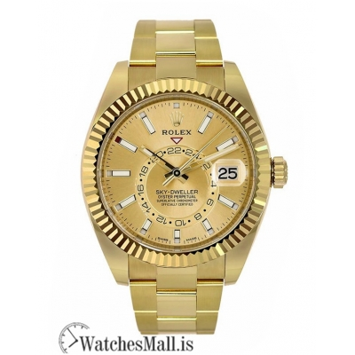 Rolex Replica Sky-Dweller Yellow Gold Champagne Index Dial 42MM Watch 326938
