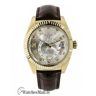 Rolex Replica Sky-DwellerYellow Gold Silver Dial on Leather Strap 42MM Watch 326138